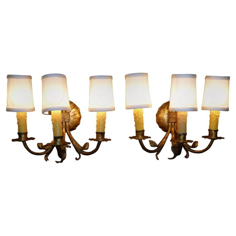 1950s Neoclassical Gilt Metal Three Candle Sconces Barcelona For Sale