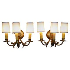 1950s Neoclassical Gilt Metal Three Candle Sconces Barcelona