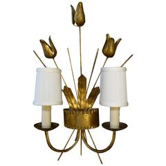 Gilt Metal Neoclassical Style Two-Light Sconce Barcelona
