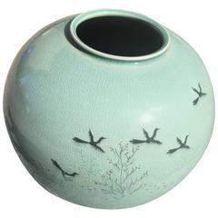 Beautiful Birds & Cherry Blossoms blue green ceramic vase with Collector Box