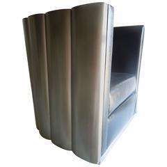 Modern Art Deco Silver Leaf Club Chair