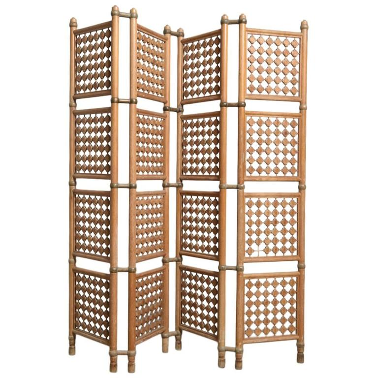 Four Panel Danish Solid Walnut Room Divider For Sale at 1stdibs