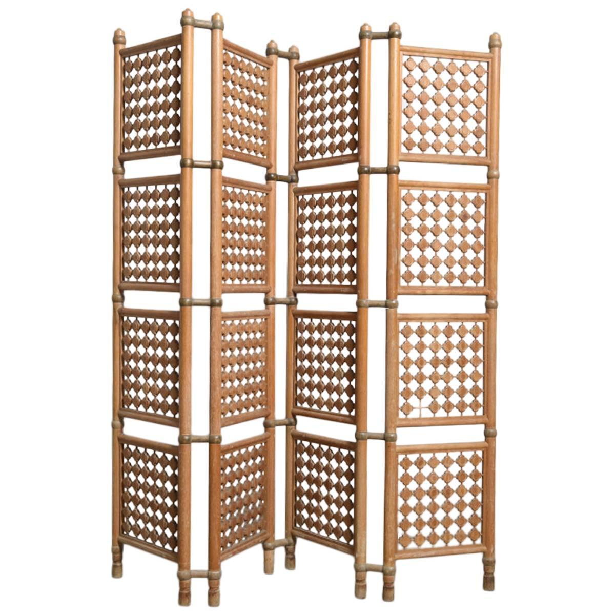 Four-Panel Danish Solid Walnut Room Divider