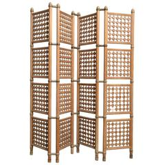 Four-Panel Danish Solid Walnut Room Divider