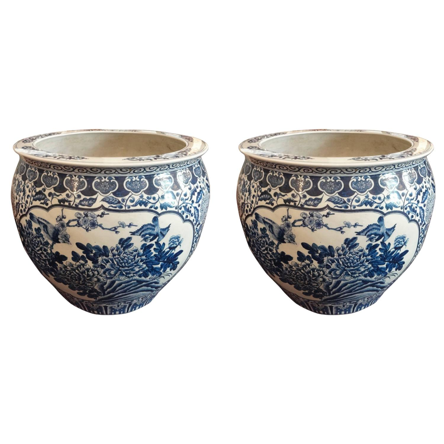 Pair of blue and white chinese fish bowl planters for sale for Chinese fish bowl planter
