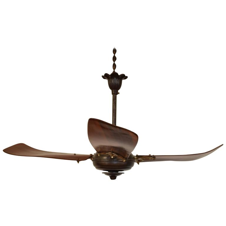 Italian Iron And Wooden Three Blade Ceiling Fan Circa 1900 For