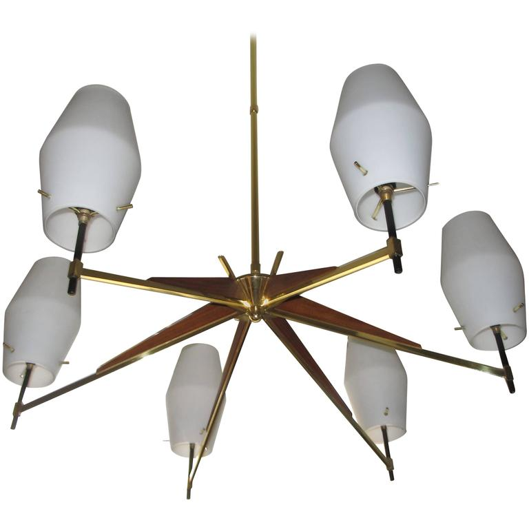 Mid-Century Danish Modern Walnut, Brass and Opaque Glass Chandelier For Sale