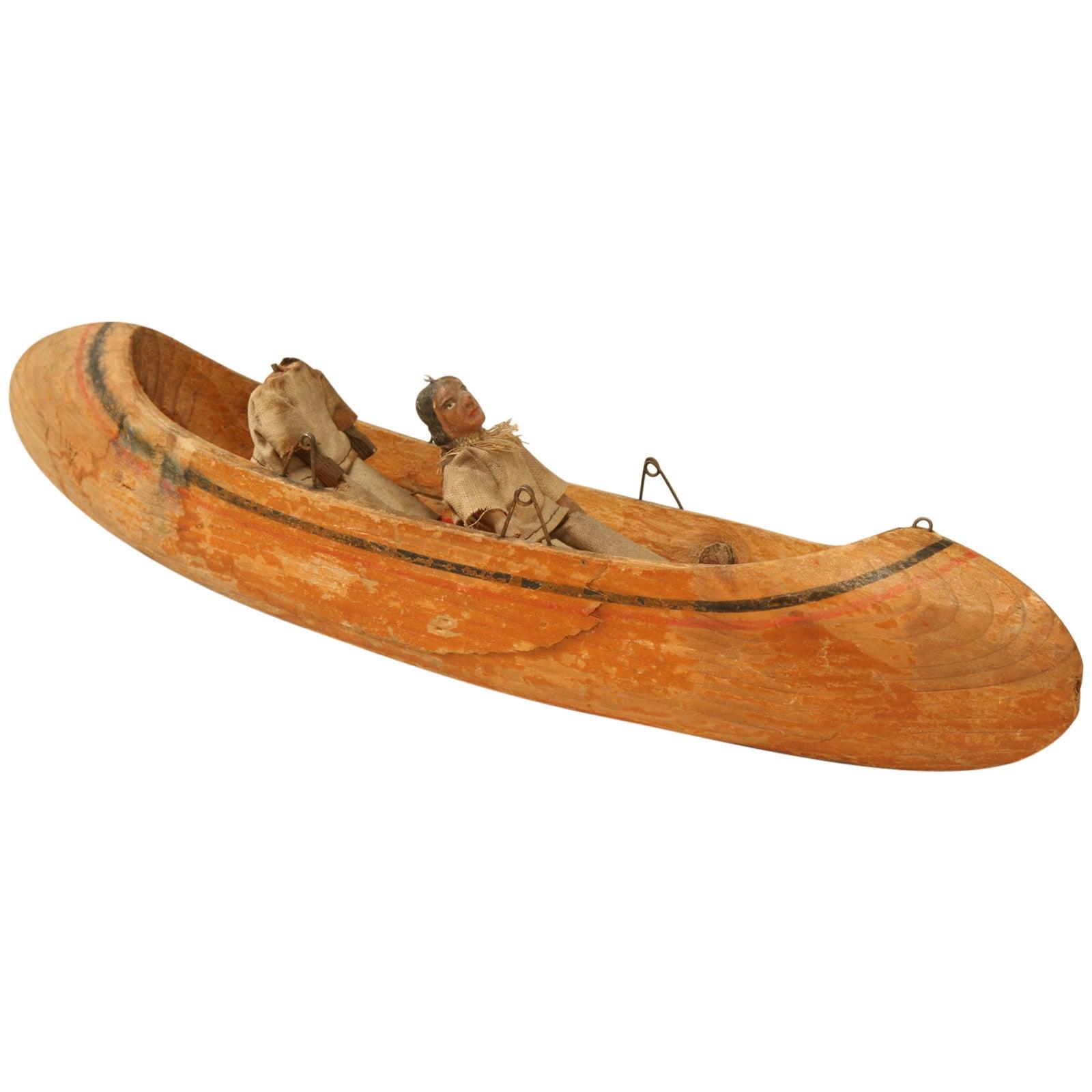 American Folk-Art Carved Wooden Canoe