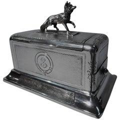 Antique Austrian Silver Matchbox & Strike with Fox Finial