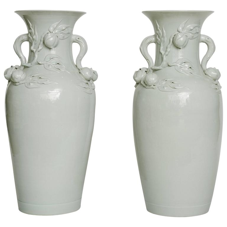 """Tall Pair of Early 20th Century Chinese White Porcelain Peach Vases 37""""H"""