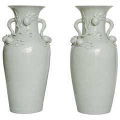 "Tall Pair of Early 20th Century Chinese White Porcelain Peach Vases 37""H"