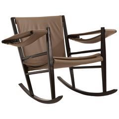 Mid-Century Rocking Chair in Ebonized Wood by Joaquim Tenreiro, Brazil 1947