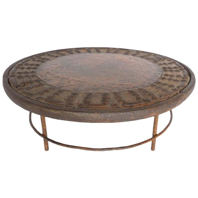 Rustic round copper cocktail table at 1stdibs Round rustic coffee table