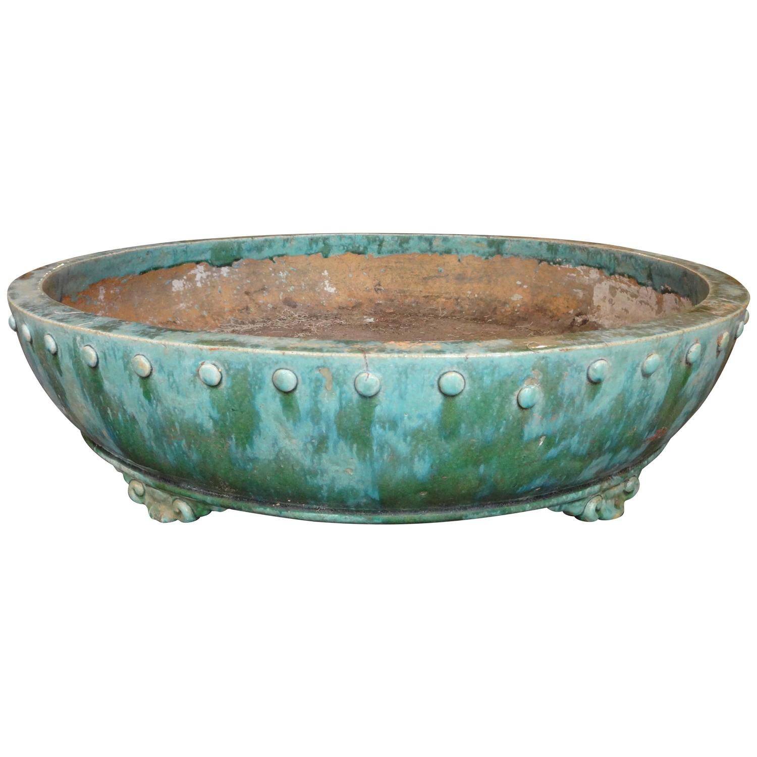 Large Chinese Turquoise Bonsai Tree Planter For Sale At