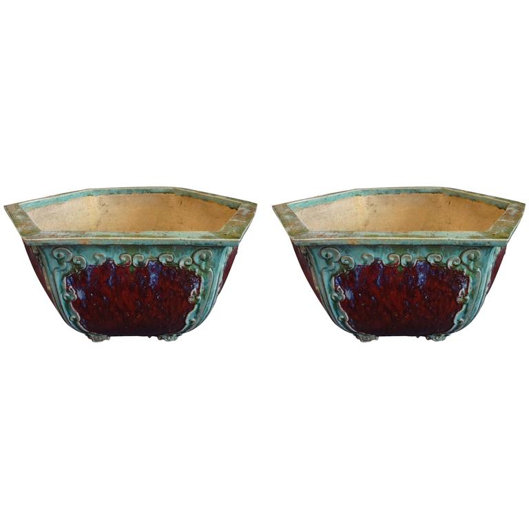 Pair of Chinese Hexagon Planters For Sale