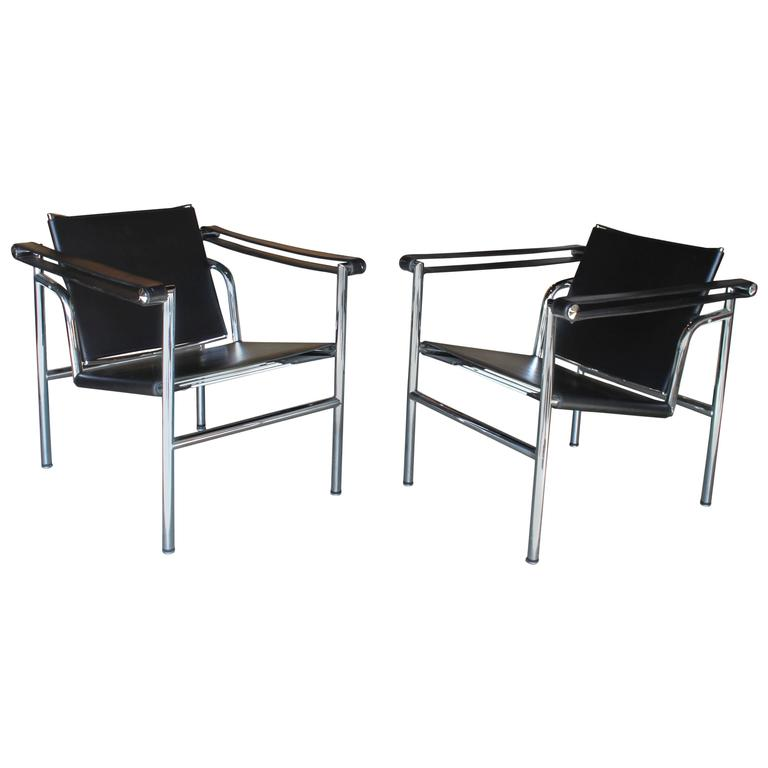pair of lc1 le corbusier sling chairs at 1stdibs. Black Bedroom Furniture Sets. Home Design Ideas