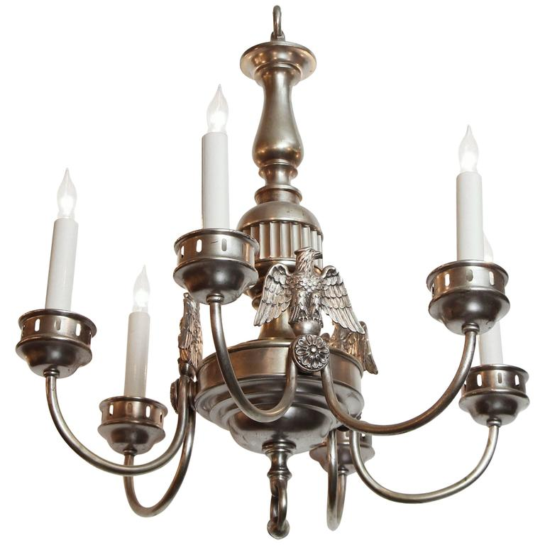 1900s Sterling Bronze Co. Silvered Six-Light Federal Chandelier with 3 Eagles For Sale