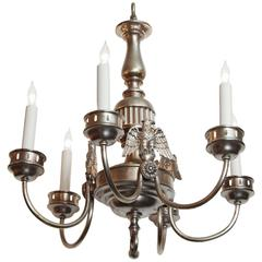 1900s Sterling Bronze Co. Silvered Six-Light Federal Chandelier with 3 Eagles