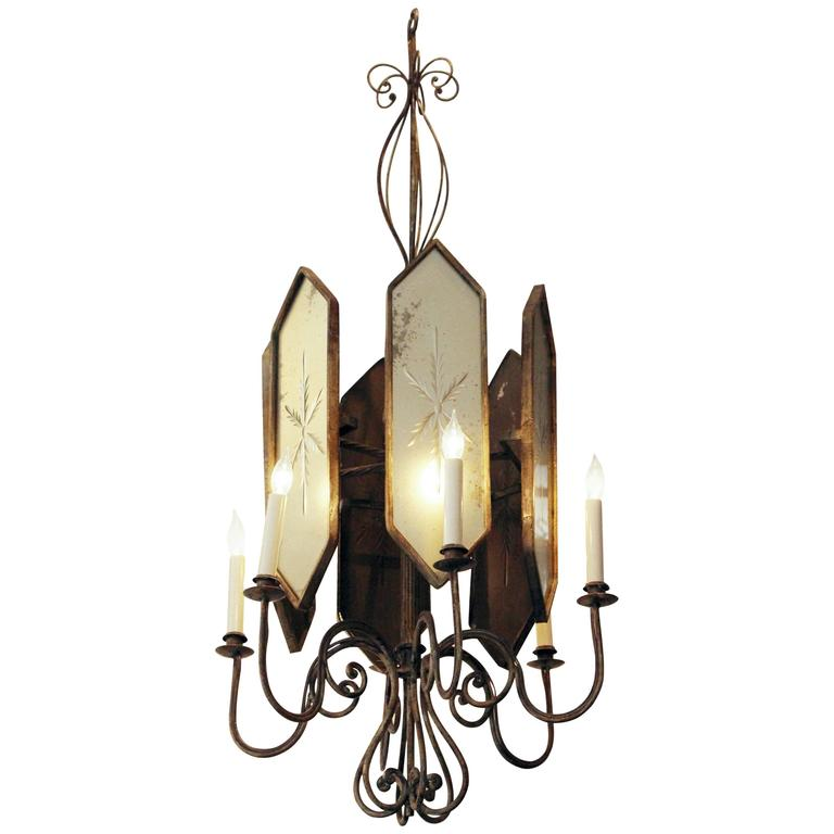 French Art Deco Venetian Style Six-Arm Chandelier with Etched Mirrored Glass For Sale