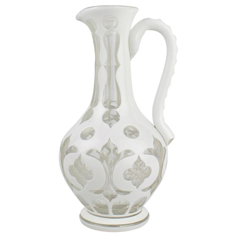 19th Century Bohemian White Cut to Clear Overlay Glass Pitcher or Ewer