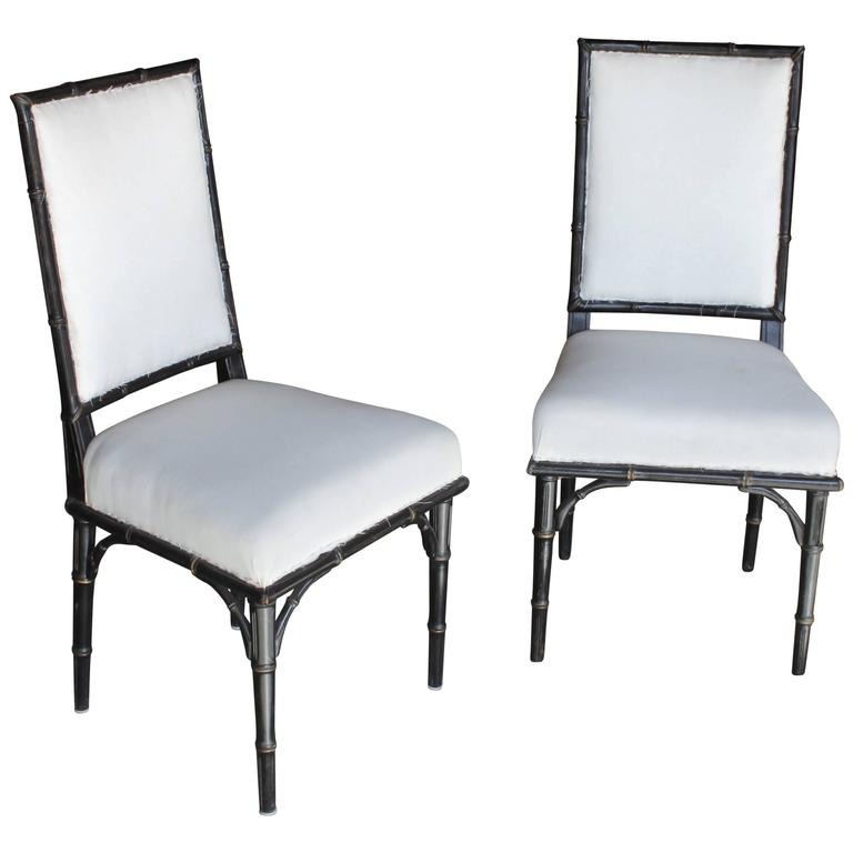 Pair of English 19th Century Faux Bamboo Side Chairs