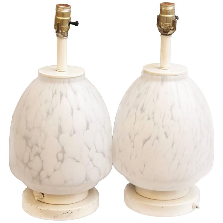 1960s Pair of Mid-Century Modern Italian Murano Glass Table Lamps