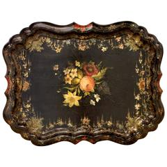 English Hand-Painted Victorian Papier Mâché Tray
