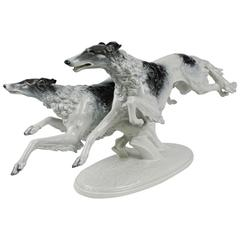 Large Art Deco Greyhound Dogs Figurine by Max Fritz for Rosenthal Porcelain