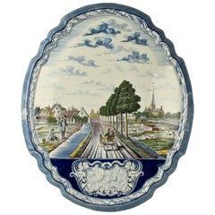 Large Dutch Delft Polychrome Wall Plaque