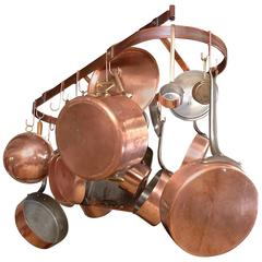 """French E.Dehillerin Cuprinox """"Extra Thick"""" Cookware and Eclume Pot Rack"""