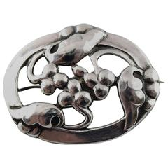 Georg Jensen Art Nouveau Brooch in Silver, 1920s-1930s