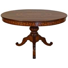 Italian Neoclassical Period Walnut and Inlaid Center Table