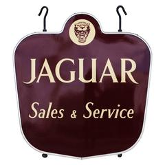 Rare Vintage Jaguar Sales and Service Porcelain Dealership Sign
