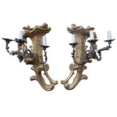 Three-Light Gilt Wood & Wrought Iron Sconces, Pair