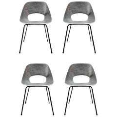 Rare Set of Four Aluminium Chairs by Pierre Guariche