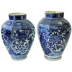 Huge Near Pair of Late Japanese Octagonal Arita Blue and White Vases