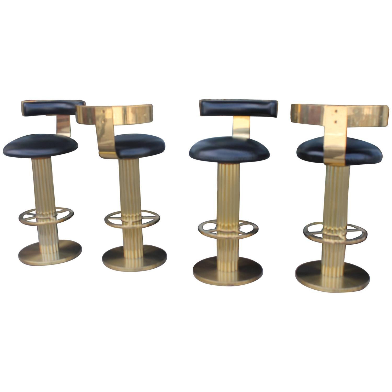 Vintage Set Four Swivel Br Excalibur Barstools Bar Stools Design For Leisure At 1stdibs