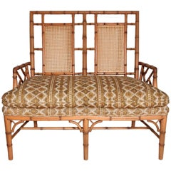 1950s Chippendale Faux Bamboo Rattan Settee Arm Chair Chinoiserie