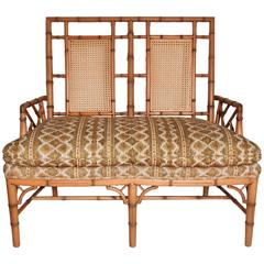 1950s Chippendale Faux Bamboo Down Filled Settee Arm Chair Chinoiserie