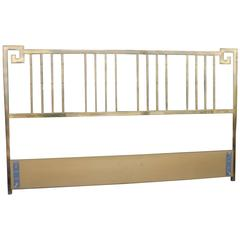 Mastercraft Greek Key Brass Vintage King Size Headboard Faux Bamboo Bed