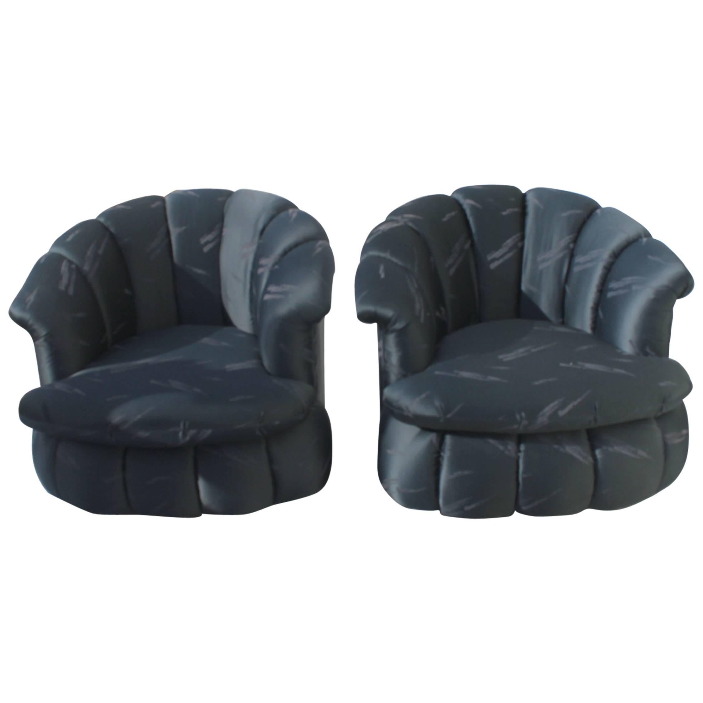 Swivel Chairs Pair of Vintage Tufted Tub Barrel Arm Pouf Hollywood Regency