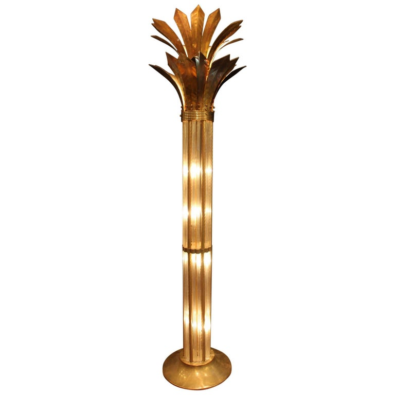 Italian Modern Mid Century Brass and Glass Rods Floor Lamp For Sale