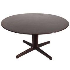 Danish Rosewood and Black Laminate Pedestal Dining Table