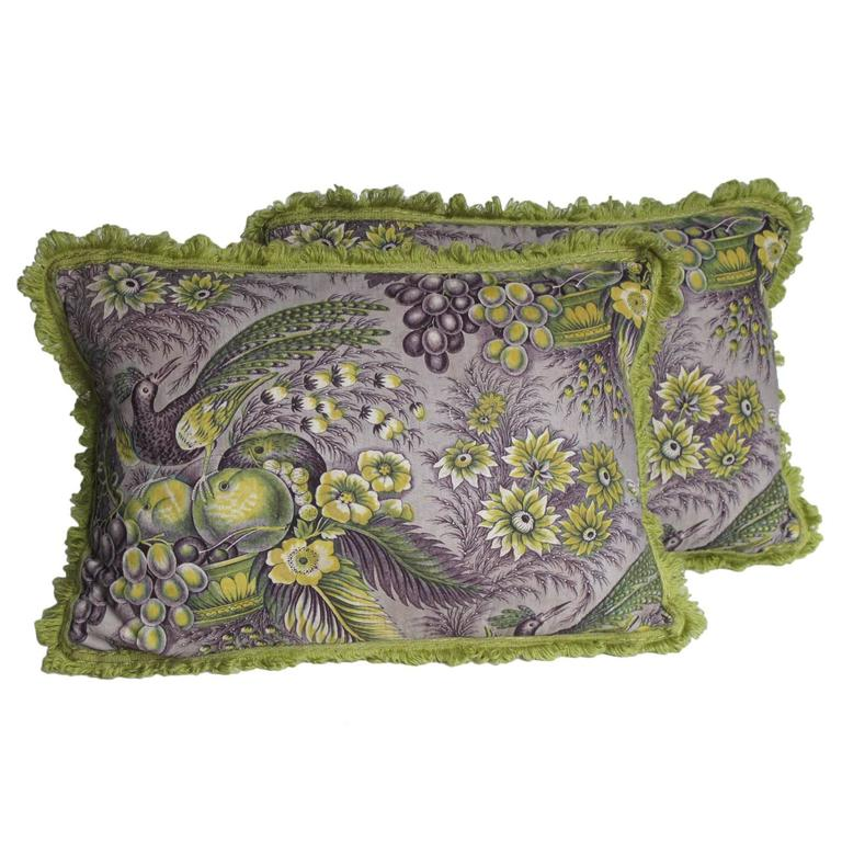 19th Century Quilted Toile Pillows by Mary Jane McCarty Design For Sale