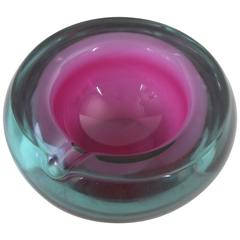 Large Purple and Burgundy Murano Glass Sommerso Bowl or Ashtray