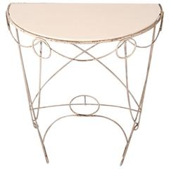 Wrought Iron and Glass Demilune Garden Table, Plant Stand
