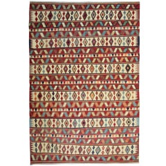 Antique Kilim Rug, Vintage Rug, Striped Kilim Rug Caucasian wool kilim carpet