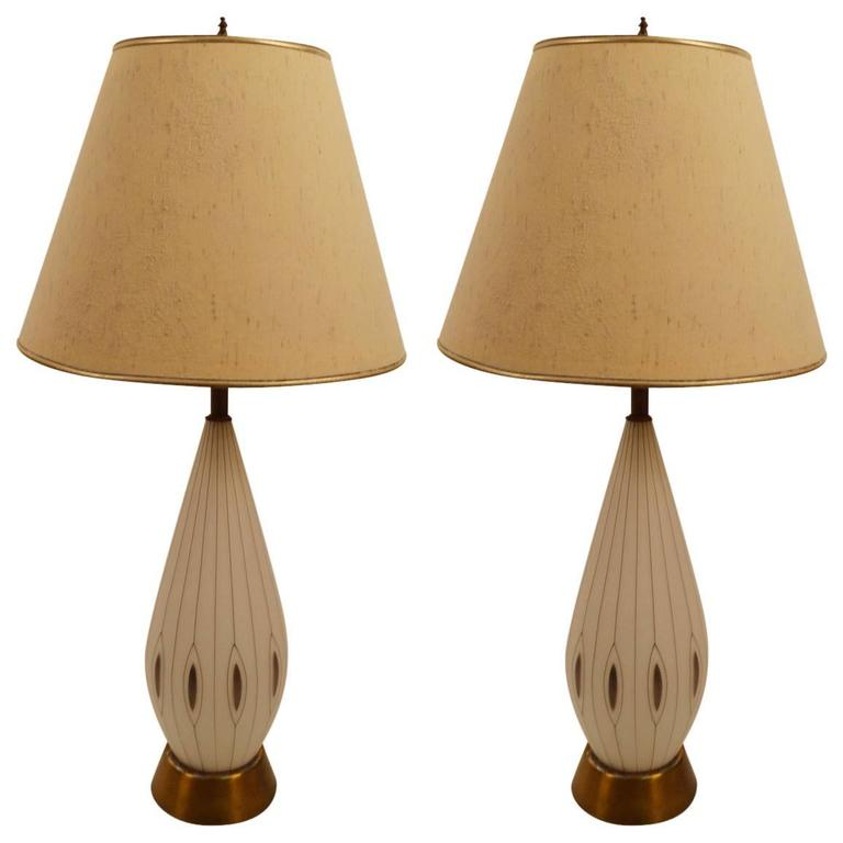 Pair of Glass Teardrop Table Lamps