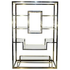 Etagere Brass and Glass Room Divider by Romeo Rega from Italy - Shelve