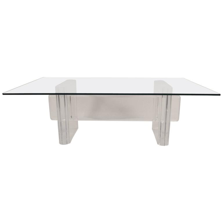 Lucite Base Coffee Table Attributed To Karl Springer For